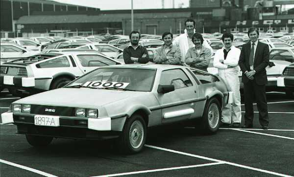 DMC DeLorean number 1000 rolls off the production line.
