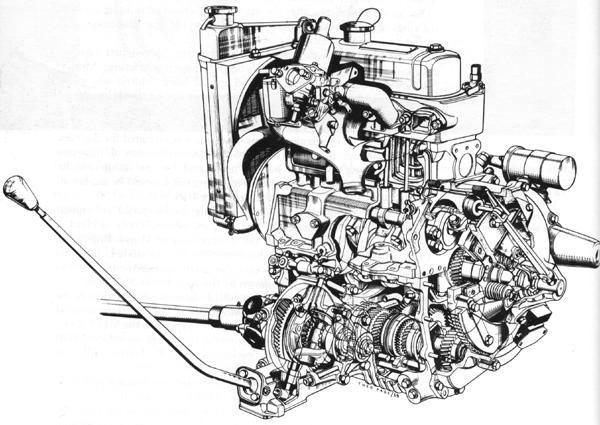 Cutaway drawing of the 848cc A-series complete with transmission-in-sump, as it first appeared in the 1959 Mini.