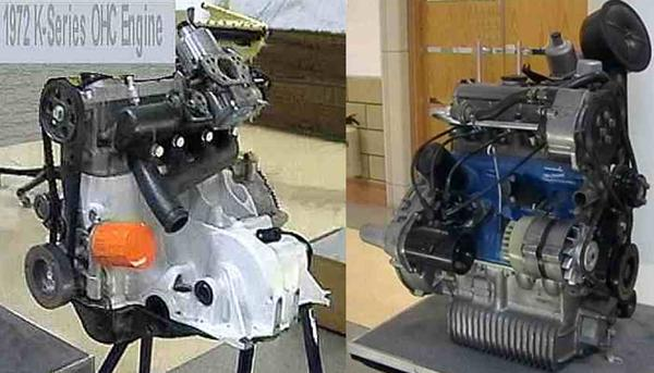 The experimental K-series (left) and A-series (right) OHC engines, now preserved at the Heritage Motor Centre at Gaydon.