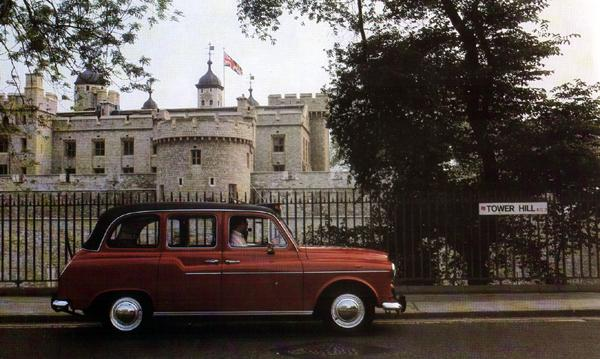 Consigned to the Tower: a Carmine Red FX4R poses outside the Tower of London. Note the black plastic overriders, which had been fitted since 1979 when the worn-out tooling for the original Wilmot Breeden-sourced chrome items had been deemed too expensive to replace. By 1985, the same problem would see the loss of the chrome bumpers themselves, with the FX4S featuring far cheaper rolled steel items designed and made in-house at Carbodies.