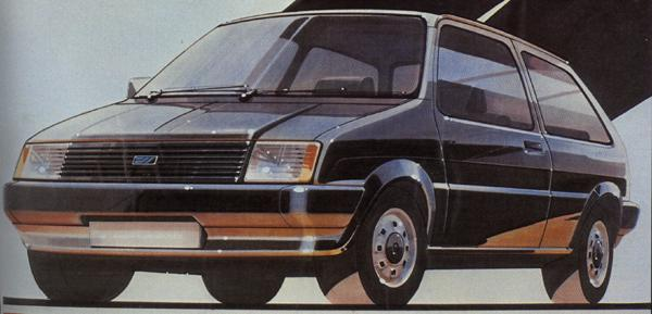 The David Bache studio quickly produced a car based on this image. The shape was not vastly different to the final ADO88, but the detailing was much better.