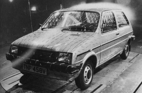 1979/80, and a pre-production model undergoes wind tunnel testing. It emerged with a drag factor of Cd0.41, better than all of its contemporary competitors. Within three years, however, this figure began to look decidedly poor when compared to those of the slightly larger Peugeot 205 (0.34) and Fiat Uno (0.33/0.34).