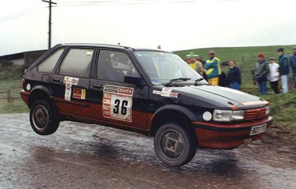 John Dalton at the wheel of his rally-prepared Maestro at the West Cork Rally in Ireland in 1991. (Picture courtesy of Speedsports (Ruthin) Photography - Tel:01824 703743)