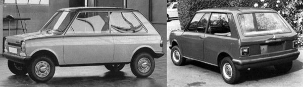 1968 Mini 9X by Issigonis shows what could have been. The car on the left is a mock-up built by Pininfarina, while on the right is the later road-going prototype.