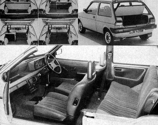 BL was understandably proud of the interior packaging of the Metro and the practicality is evident when looking at the seat fold permutations of the hatchback. The sectioned Metro shows interior room in a favourable light and it should be noted that in this shot, the front seats have not been pulled fully forwards to create the impression of rear room!