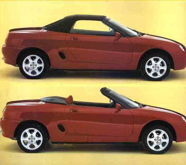 Hood up or down, the profile of the MGF looked good – the low profile hood was engineered by Pininfarina, the only part of this roadster that could be construed as not being British.