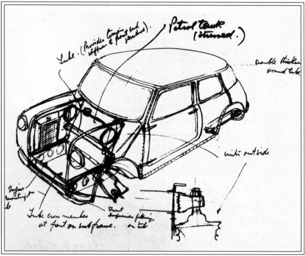 Mini development story: One of the earliest sketches for the Mini design as penned by Alec Issigonis. Note how the car changed remarkably little between concept and production.