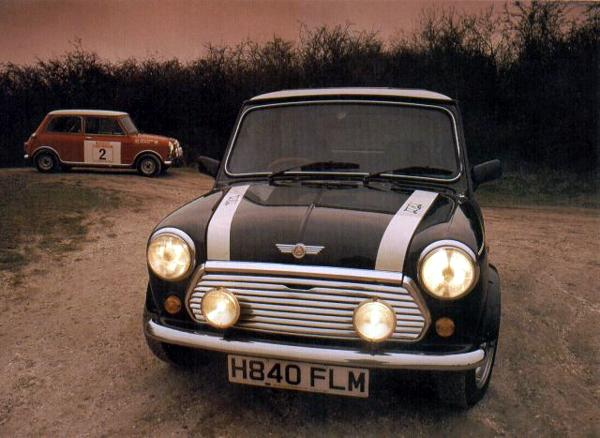 1991 Mini Cooper S poses alongside a replica of the '60s Cooper S rally car. Rover boosted Mini sales significantly by resurrecting the Cooper name and before too long, the Cooper was outselling the standard version. It is not an exaggeration to say that the decision by management to re-create the Mini Cooper was an inspired move and helped to ensure the survival of the Mini into the 21st century. The Mini revival also led to the investment of huge amounts of BMW money into the creation of a replacement for the car – though whether MINI version 2001 is in the spirit of the original is debatable.