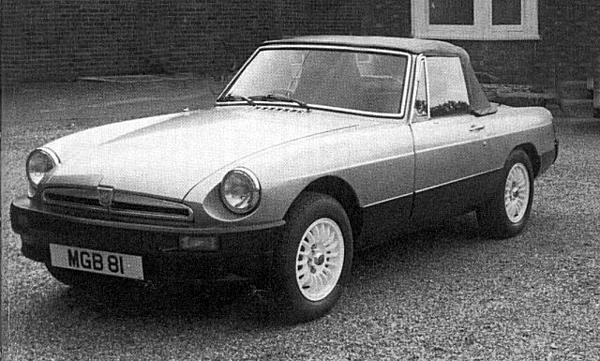 The Aston-MGB as launched to the press in June 1980: William Towns created a very effective makeover of the existing car, given that there were no significant changes made to the car (beyond the use of an MGB GT windscreen and surround).