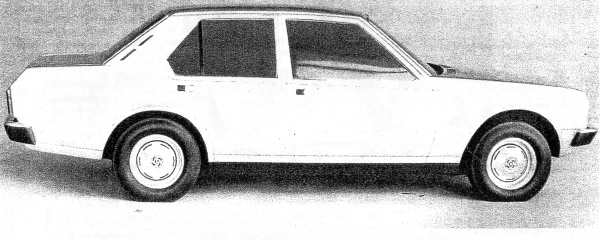 """Michelotti's quarter-scale model P82 De Luxe saloon (short nose). Picture: """"P82 Status report"""", by Barry Anderson and Reg Fulford, Sep 1974, and supplied by Merve Sheather."""
