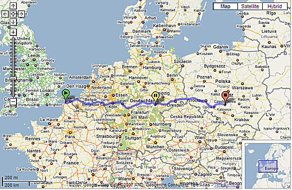 Our outbound route takes in a bit of everything - from smooth French Autoroutes, ultra-fast German 'Bahns, and Polish back lanes... The route back was a hell of a lot more interesting, though. (Image: Google Maps)