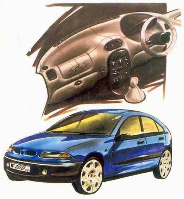 "Concept car looks were always the plan for the R3 – the fact that that the car depicted in this late-in-the-day rendering by David Saddington carries a ""Rover 100"" badge indicates the implied market niche for this car. (Picture supplied by Kevin Davis)"