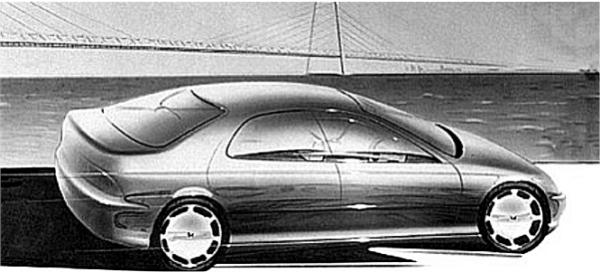 "Honda Domani concept sketch to reality: somehow, the Japanese design lost its appeal when it made the transition from paper to clay. The very obviously Civic-based saloon underwhelmed Rover designers, faced with the uphill task of ""Roverising"" the ungainly car."