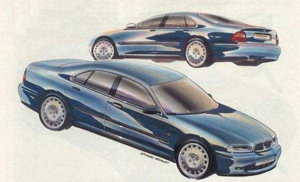 Richard Woolley's sketch from 1989 shows the Rover 600 almost as it appeared in 1993. A major departure for Rover was the chrome grille and curvaceous body design. It heralded a new direction for the company that culminated in the Rover 75 (also by Woolley) in 1999.