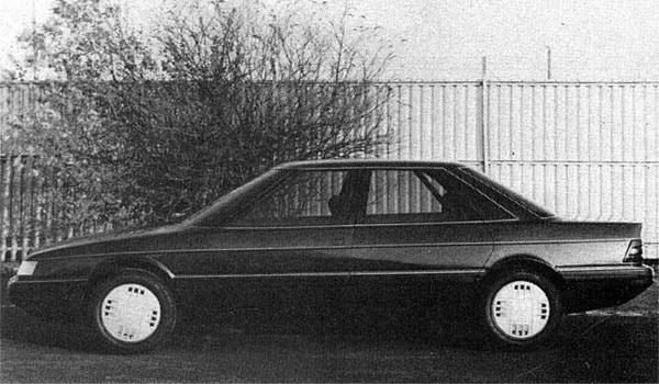 "Austin Rover XX 'DEV 2"" model on display in November 1982: the convex flanks of the earlier car were now removed, but this version of the car worried Gordon Sked because of its huge glass area, cab-forward stance and 'size perception""."