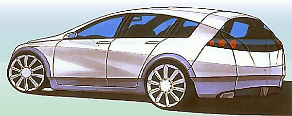 Another styling sketch of the five-door hatch - and in this case, a low, lean and big-wheeled look  replaced the 'soft-roader' scheme. Real potential for style...