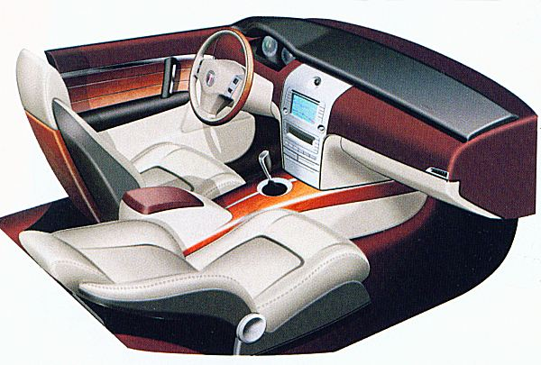 Interior prominently featured wood - and aluminium. It was an ultra-modern look, which managed to fuse traditional materials and progressive styling in order to convincingly move MG Rover away from its embedded image of relentless retro...