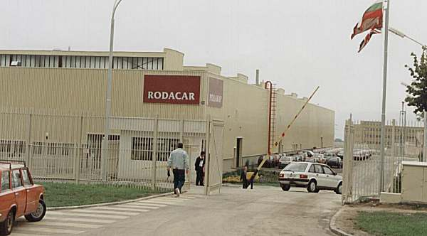 The north western corner wing of the Varna factory in 1995 - several finished Maestros can be seen parked inside the compound.