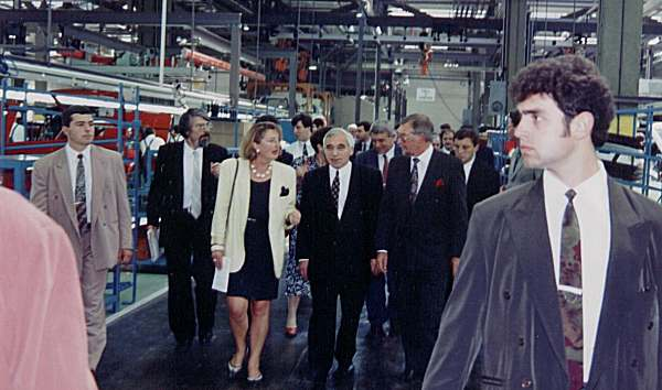 Bulgarian President, Zhelyu Zhelev (centre) opened the plant in September 1995.