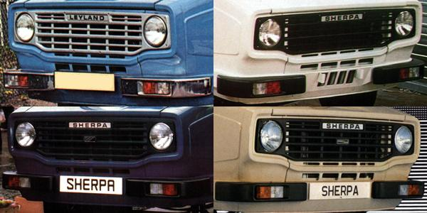 Changing face of the Sherpa: TOP LEFT: As originally launched; silver-finish grille with LEYLAND lettering. TOP RIGHT: Second thoughts: SHERPA replaces LEYLAND, while grille becomes matt black. BOTTOM LEFT: Austin-Morris badge is added to grille, and positions of sidelights and indicators are reversed. BOTTOM RIGHT: Freight Rover badge replaces Austin-Morris one in the final incarnation of the original Sherpa design.