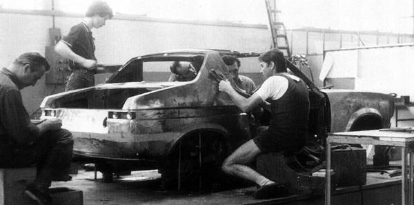 "The prototype being prepared at Michelotti's styling studios in Turin. (Picture: ""MG: The Untold Story"", by David Knowles)."