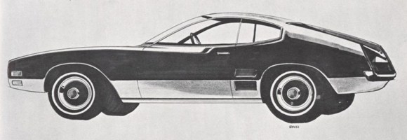 Here we see the shift from GM F-body wannabe to what we know as Capri. The kicked up quarterlights are still present, but the grille (which would influence the new compact Escort) is still in design hell stage; maybe there was a Corvair in Dunton at the time?