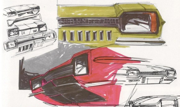 Early sketches had a transalantic feel, oddly echoing the work going on over at GM on the new Mustang rivals - the Firebird and Camaro. One even has shades of the front driven Oldsmobile Toronado.