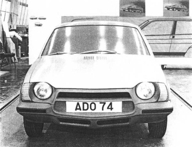 It is important to produce a stylish car when competing in the image-conscious supermini market. This frontal proposal might have been quite bold-looking, but was certainly neither stylish nor aerodynamic. Note the hint of Leyland P76 about the shape of the indicators.