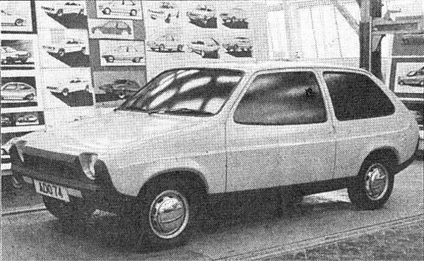 "Another effort from the dipped window-line, bulbous school of thought, with more than a hint of the later Fiat Ritmo about the front. One possible indicator of 'project drift"" is the plethora of wildly differing styling sketches on the wall behind."