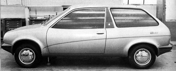 """A little more work on the """"Wedge"""" theme resulted in this, the three door hatchback version of the Triumph TR7. In all seriousness, this Harris Mann creation is rather stylish, although the car's desirability on the marketplace would have been rather dependent on that of the TR7. (The badge on the side of this car reads """"Mini 1300"""")"""