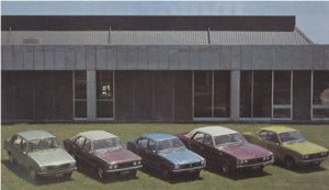 A sampling of Todd's 1976 model range From left to right - Hillman Hunter, Hillman Avenger, Mitsubishi Lancer, Chrysler Valiant 770 and Mitsubishi Galant Coupe