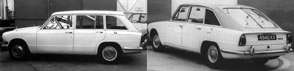 (Left) Triumph 1300 Estate: an interesting concept, killed by budgetary constraints. (Right) The pre-prototype mock-up of the Triumph 2000GT shows refreshingly original thought in a 1963 design.