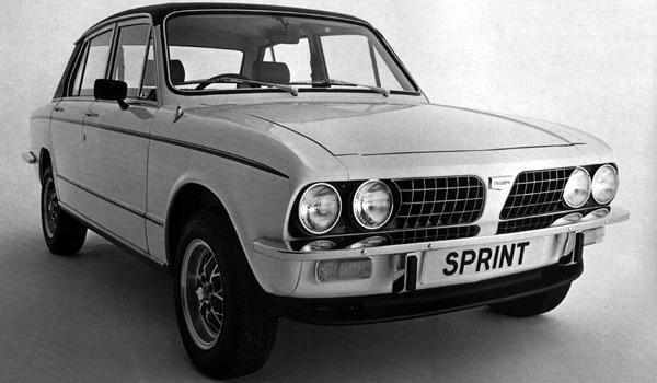 The delayed Triumph Dolomite Sprint – due for release in 1972, put back until 1973: Spen King's reworking of the Dolomite 1850 slant four engine produced remarkable results. The Sprint was the first generally available 16-valve, four cylinder engine – and the numbers produced by the single cam engine were highly impressive. Maximum power was 127bhp, giving the bluff fronted saloon a maximum speed of 115mph and 0-60 acceleration of 8.7secs.