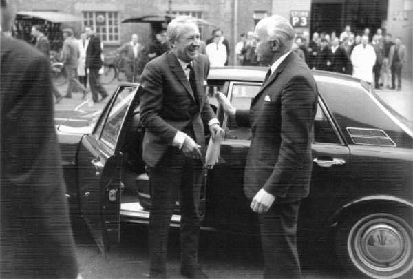 The return of Joe Edwards (right) co-incided with the increase in Westminster's interest in BMC. Here, he meets Conservative party leader, Ted Heath at Cowley in 1967... (Picture: Ian Nicholls)