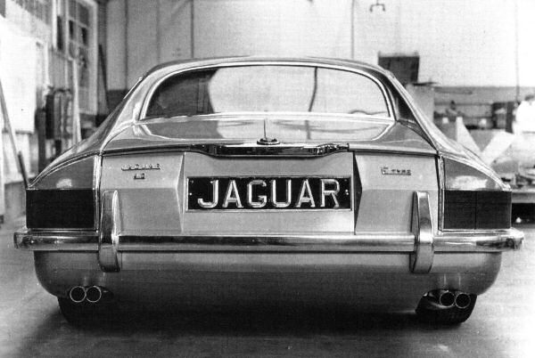 A rear view, but is it the same car? Note the E-type badging and reference to the 4.2-litre XK engine, a powerplant the production XJ-S never used, although it was at one stage proposed and running prototypes were built. However the XK engine's extra height required a different bonnet shape and the project was abandoned.