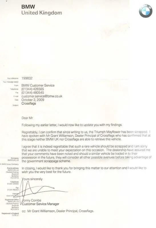 BMW's Mayflower Scrappage response