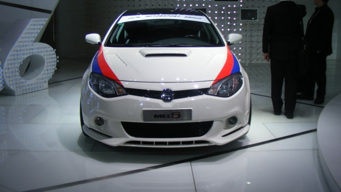 The fast MG6 sporting a very BMW M-Power paint livery