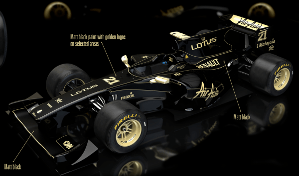 Rendering of how next year's Team Lotus-Renault car could have looked in black an gold – until Mike Gascoyne stated that Green and Gold looked more likely for 2011...