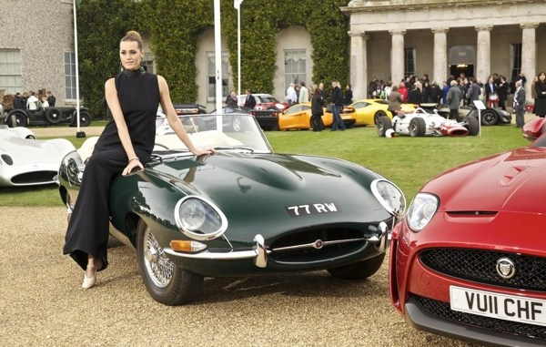 Yasmin Le Bon (looking like Audrey Hepburn) and 77RW, the oldest remaining E-type roadster.