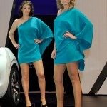 Infiniti ladies doing their best to look like they're from an '80s Athena poster – or maybe Logan's Run.