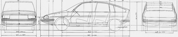Paolo Martin's schematics for the BLMC1100 - we can see that it has a 96in wheelbase - pretty much the same as a 1980 Ford Escort III.