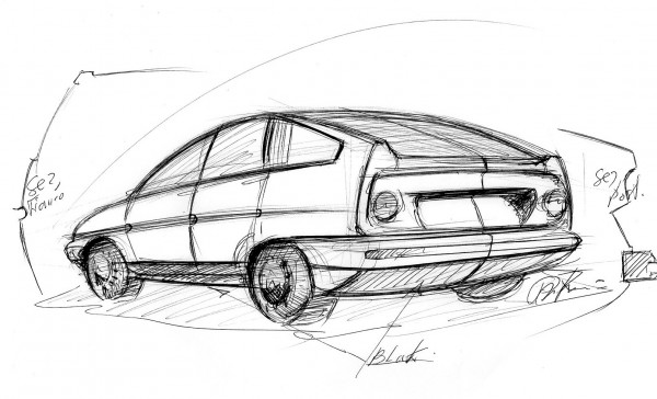 An original Paolo Martin sketch for the BLMC 1100