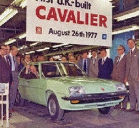 The first UK-built Vauxhall Cavalier Mk1 rolls off the line in Luton, 26 August 1977.