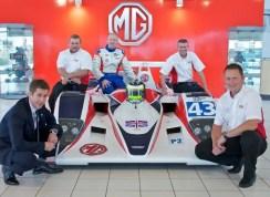 L to R: Guy Jones, Sales and Marketing Director, MG Motor UK, Jason Longworth, Chief Engineer, Team RLR, Rob Garofall, Driver, John Eaton, Truckie/Tyre Fitter, Team RLR and Nick Reynolds, Team Principal, Team RLR