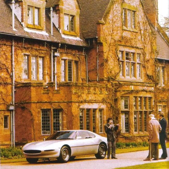 Keith Helfett the stylist, Jim Randle the engineer, at Sir William's home, Wappenbury Hall