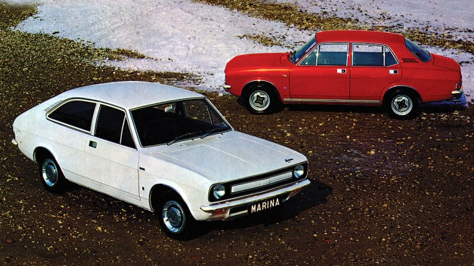 Morris Marina in 1.3-litre form is cheap to insure and a doddle to work on. Still cheap, but getting rare thanks to piano-dropping pranks on Top Gear!