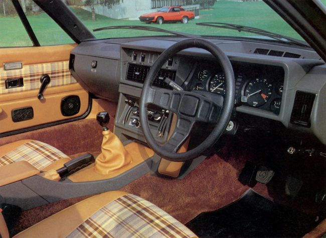 One of the most impressive parts of the Triumph TR7 was its interior, which proved to be spacious (for a two-seater) and stylish in its execution. This early UK-specification did without the US style steering wheel, with its large and clumsy central crash pad. What is also evident from this picture is that its interior architecture owed nothing to its sports car predecessors or its saloon car stable mates.