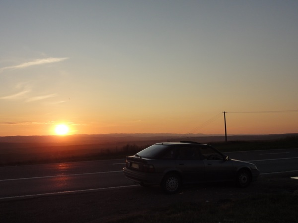 Nearing day one of our drive back in the Rover 216GTI, and wow... what a sunset...