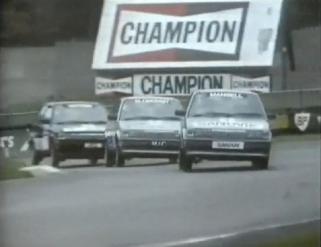 Mansell, Watson and Pond racing doorhandle to doorhandle in MG Maestros at the Austin-Rover Rallysprint 1983