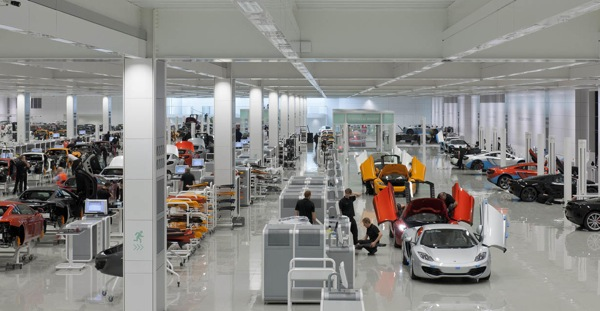 Surgically clean McLaren production centre is a sight to behold.